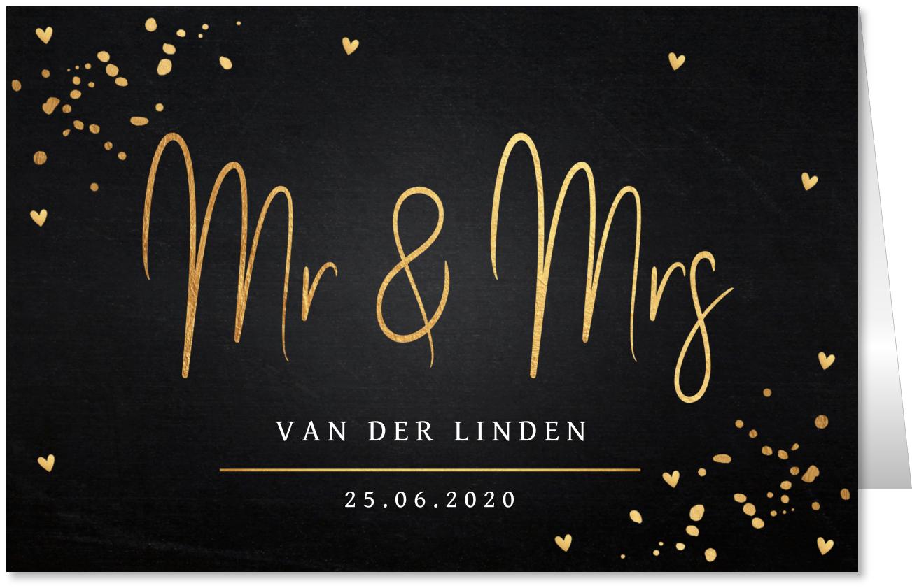 Trouwkaart Mr & Mrs goud confetti