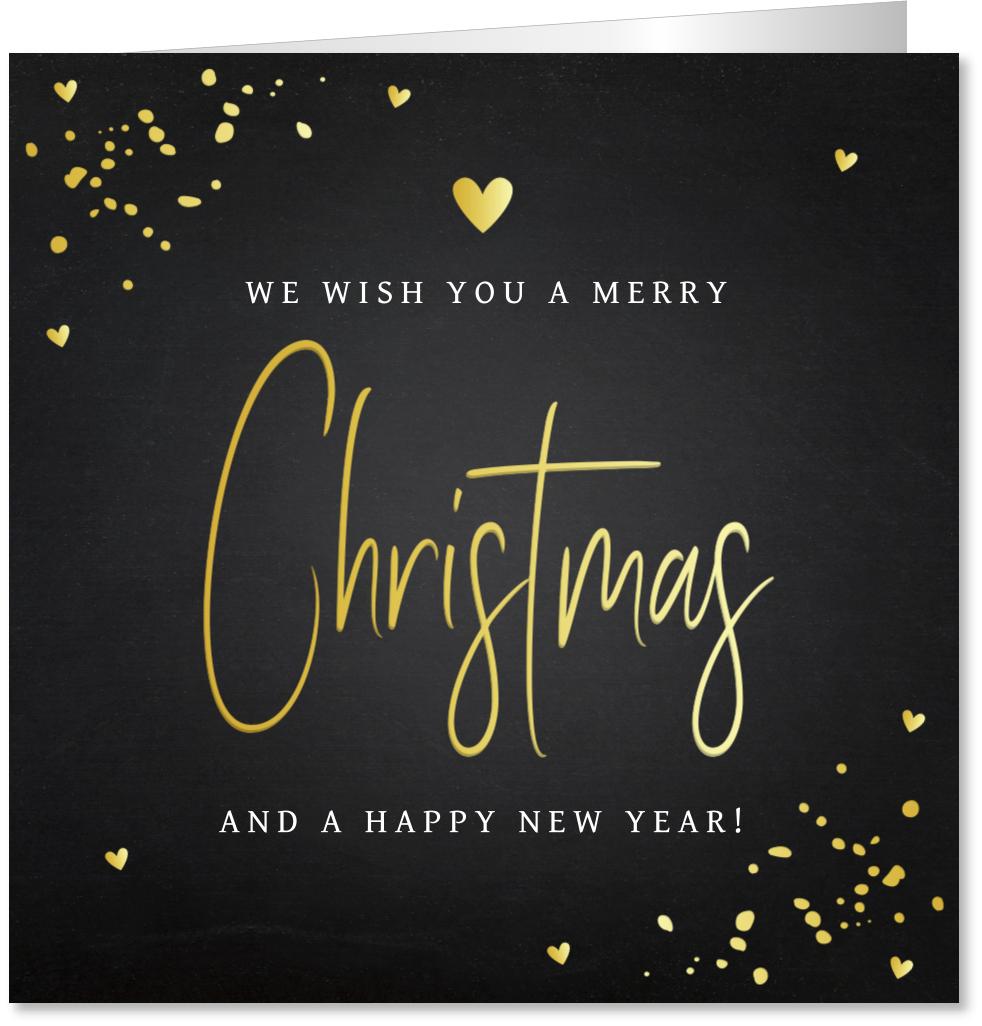 Kerstkaart typografie goudfolie