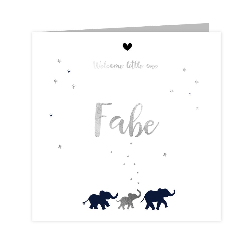 Jongens geboortekaartje met olifantjes in zilverfolie en donkerblauw