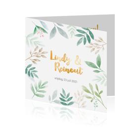 Goudfolie trouwkaart met botanische stijl