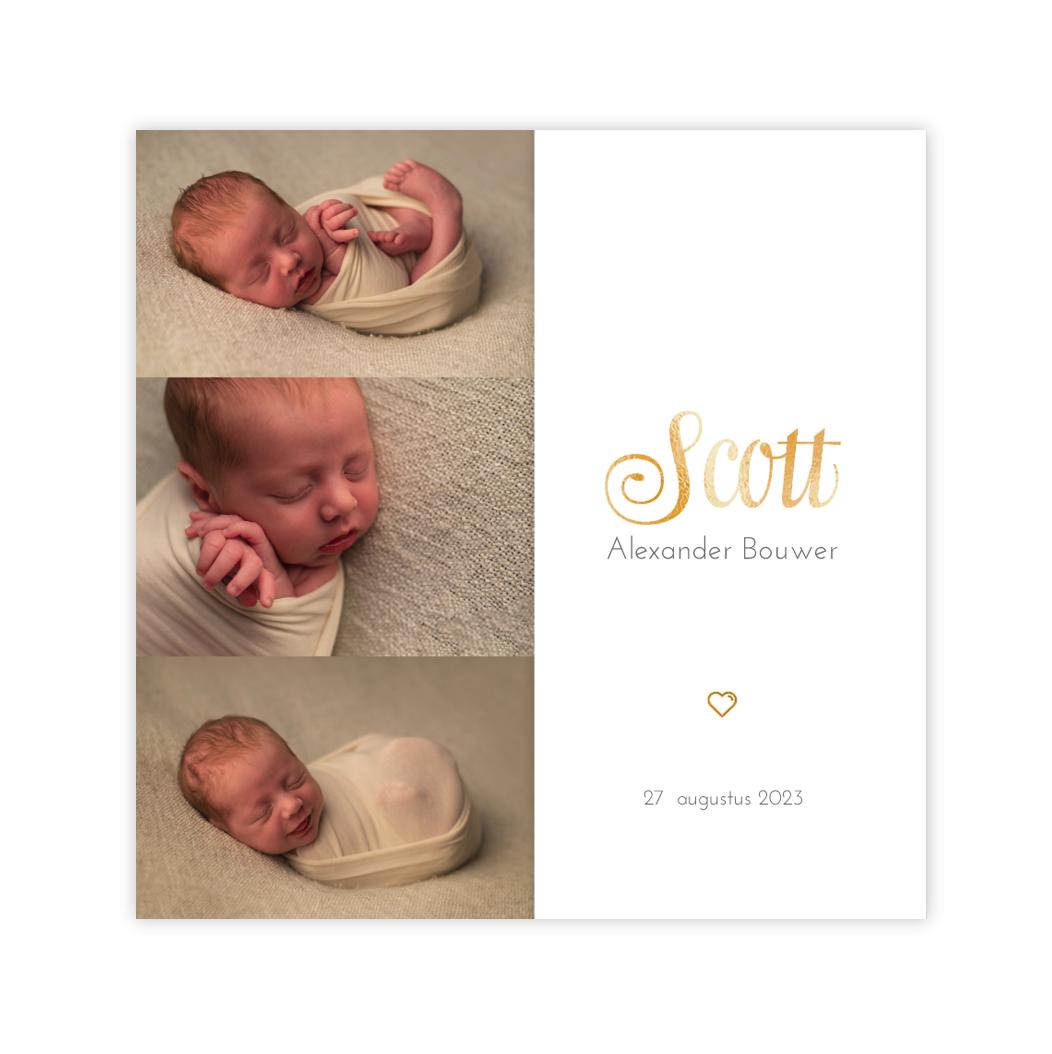 Klassiek goudfolie geboortekaartje voor een jongen met hartje