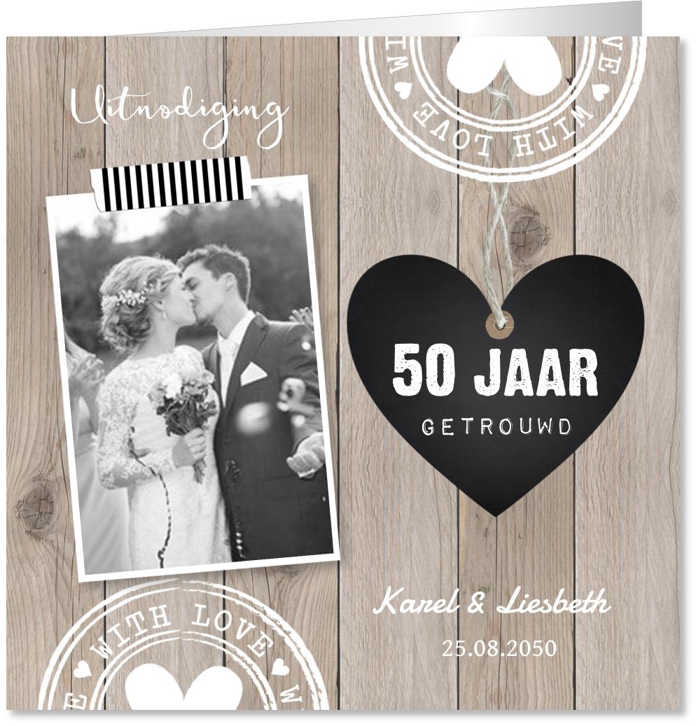Jubileumkaart foto houtprint