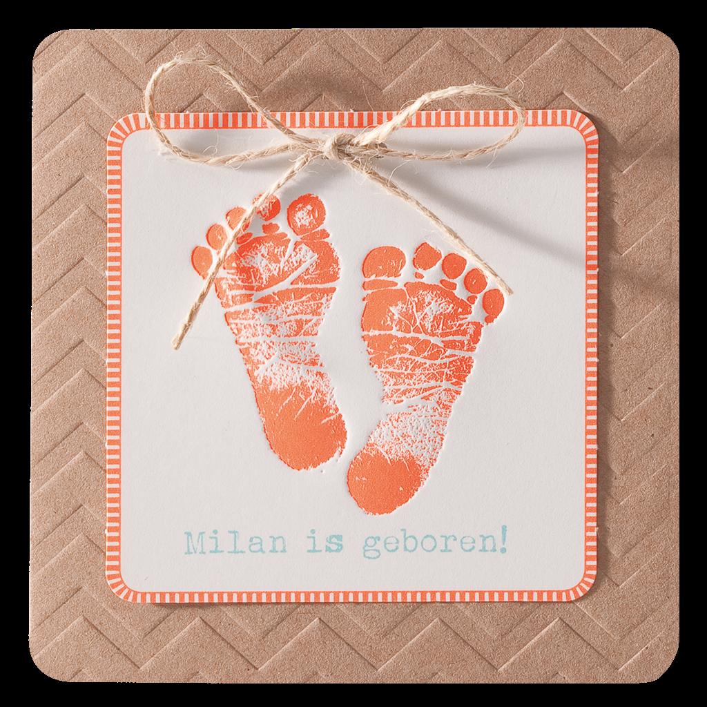 Lief geboorte kaartje met oranje babyvoetjes I 715101