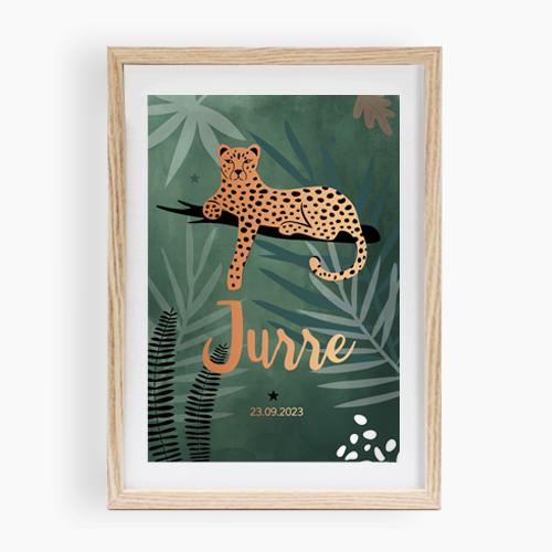 Jungle luipaard poster van geboortekaartje groen jongen koperfolie