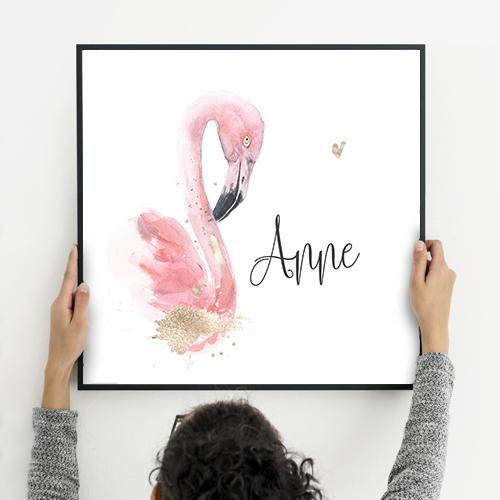 Poster geboortekaartje meisje flamingo met glitter look