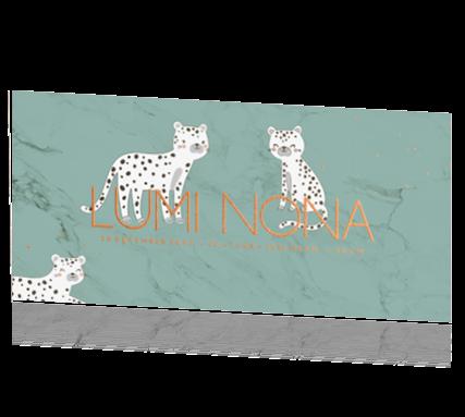 Leopard koperfolie geboortekaartje marmer groen luipard