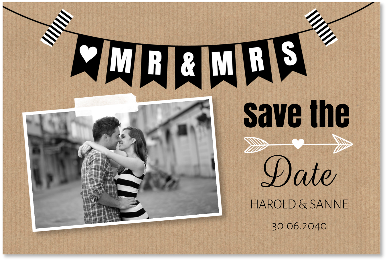 Save the Date kaart slinger kraft