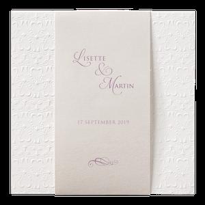 Klassiek trouwkaartje met wit hartjespatroon I 723101