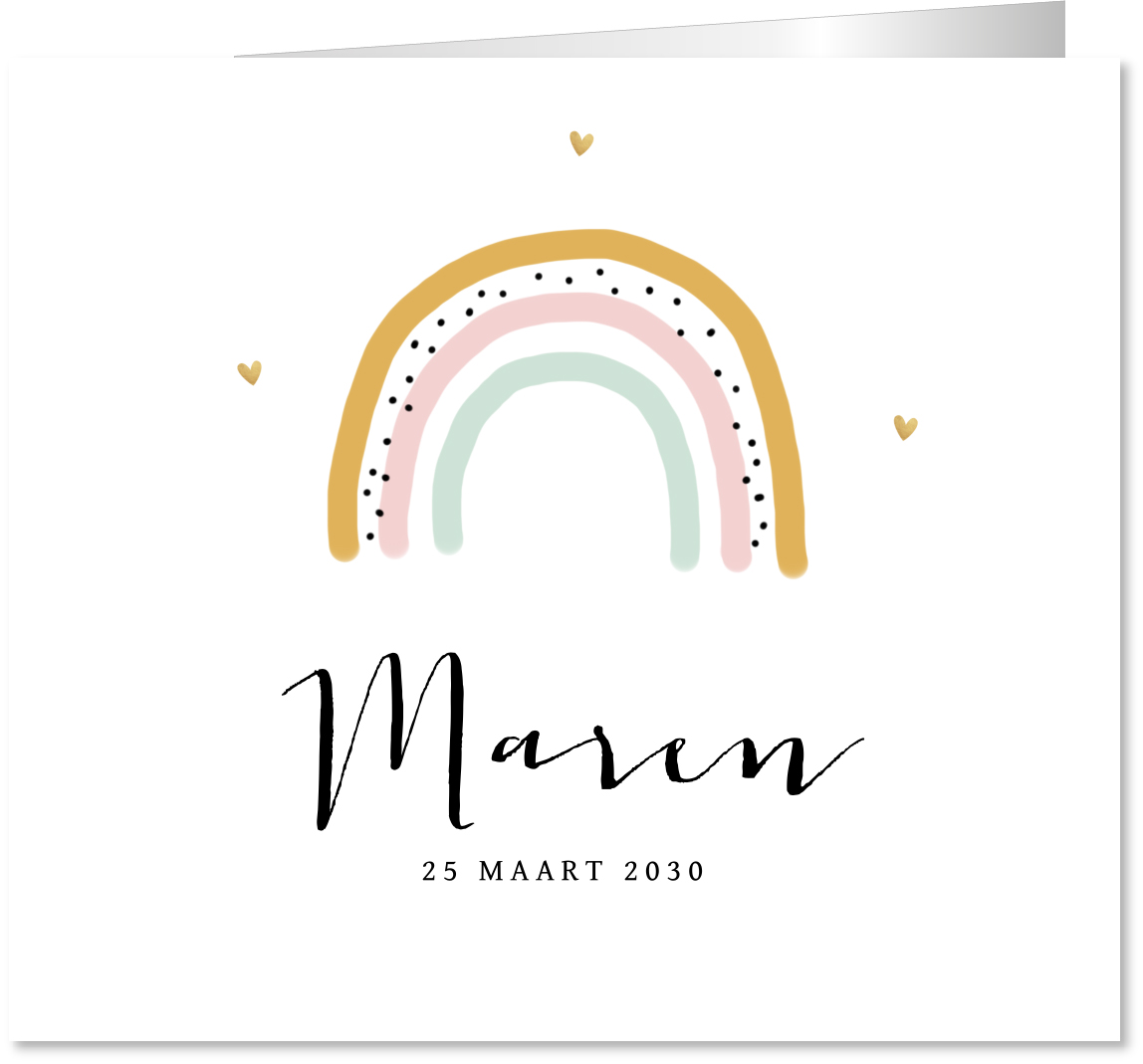 Geboortekaartje regenboog meisje
