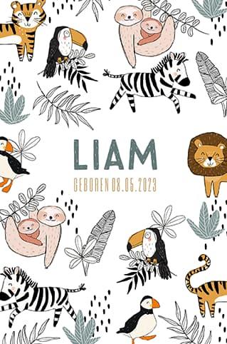 Geboortekaartje jongen met patroon jungle dieren