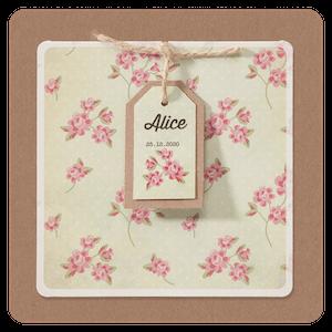 Romantisch geboortekaartje met roze bloemen en kraft I 715068