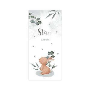 Zilverfolie geboortekaart met konijn en takjes - jongen