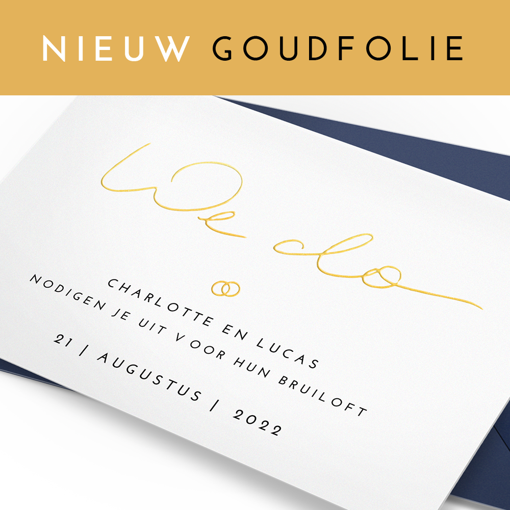 Trouwkaart met goudfolie We Do