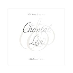 Zilverfolie trouwkaart met klassiek