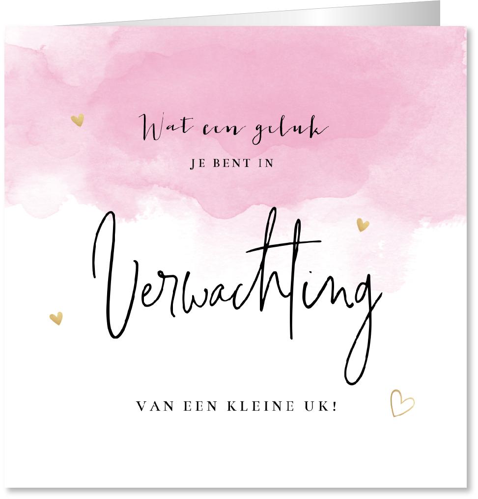 Felicitatie zwanger waterverf roze