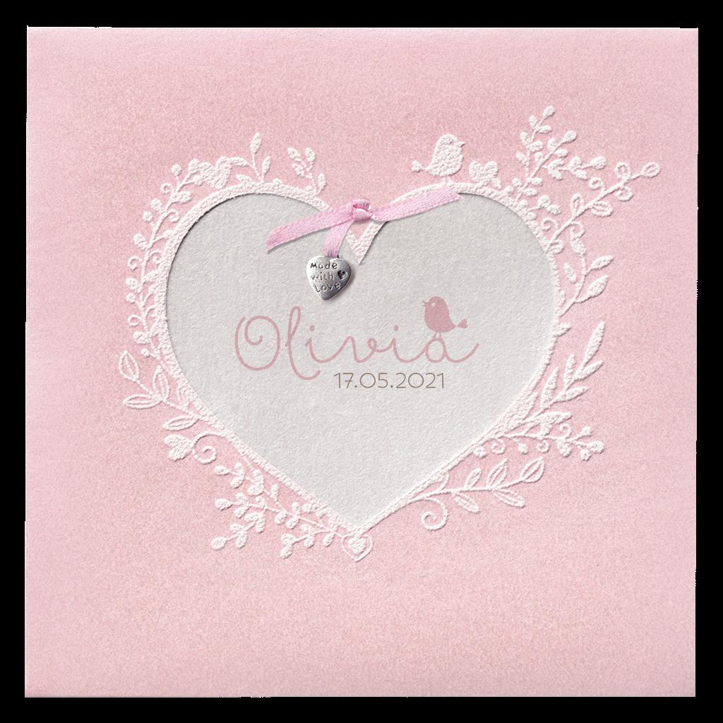 Romantisch roze geboorte kaartje met hart I 718021