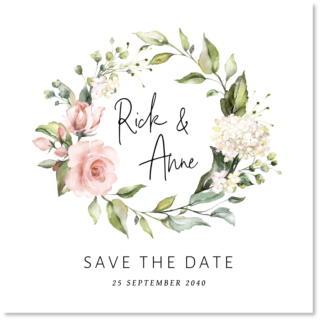 Save the Date kaart bloemenkrans