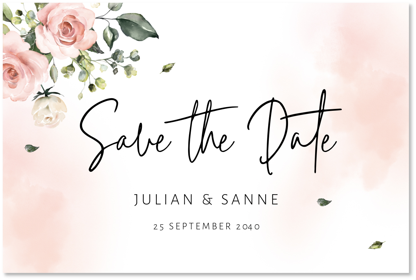 Save the Date kaart floral waterverf