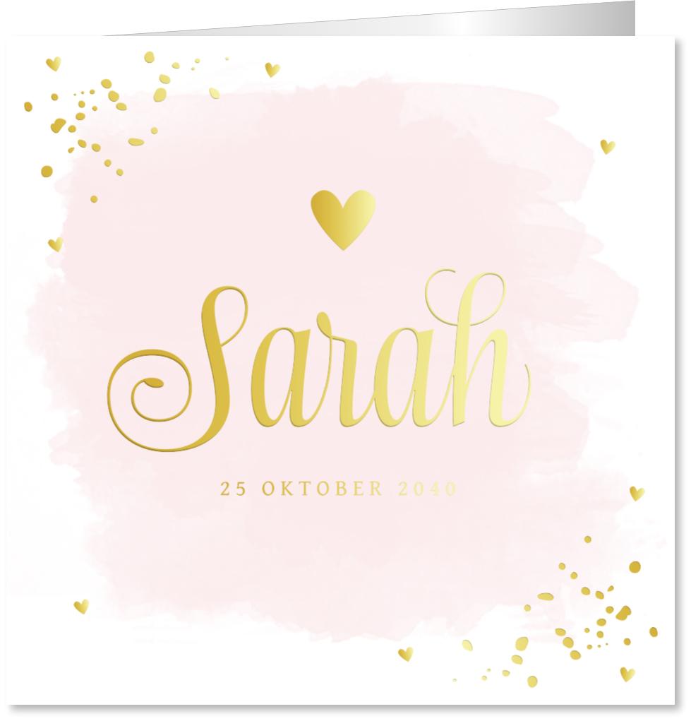 Geboortekaartje goudfolie confetti roze