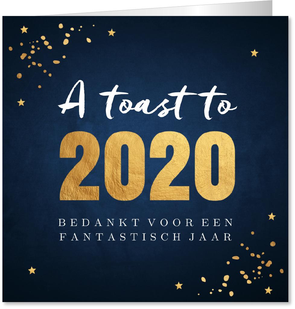 Nieuwjaarskaart typografie goudlook