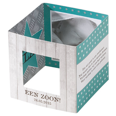 Vierkante kubus geboortekaart jongen I 712031
