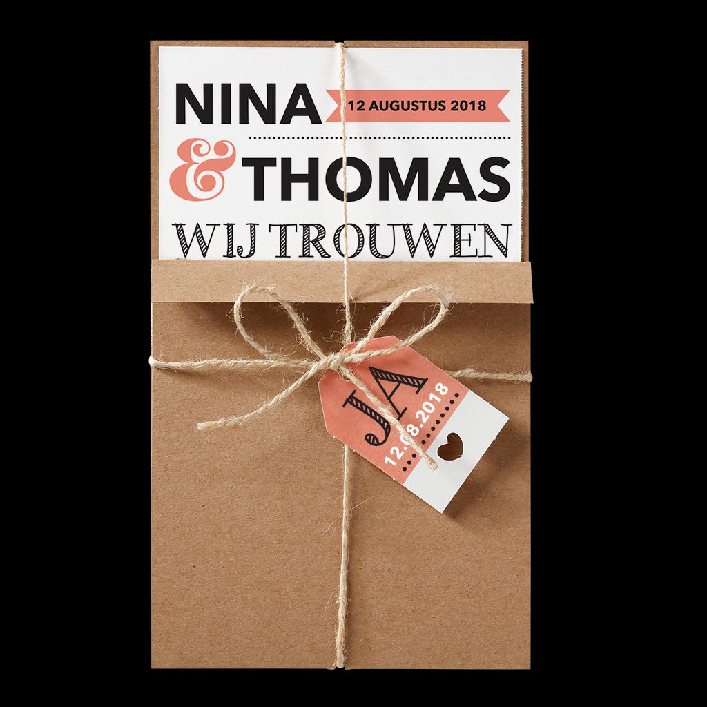 Trendy trouwkaart met kraft pocket - Belarto 726017