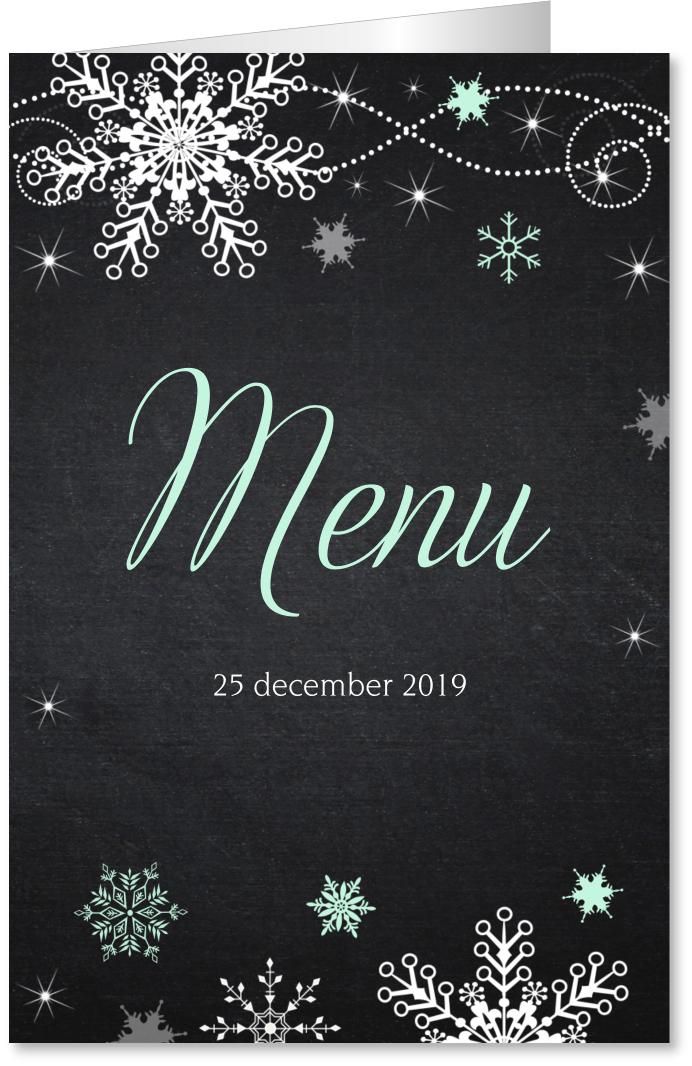 Kerstmenukaart krijtbord sneeuwvlokken