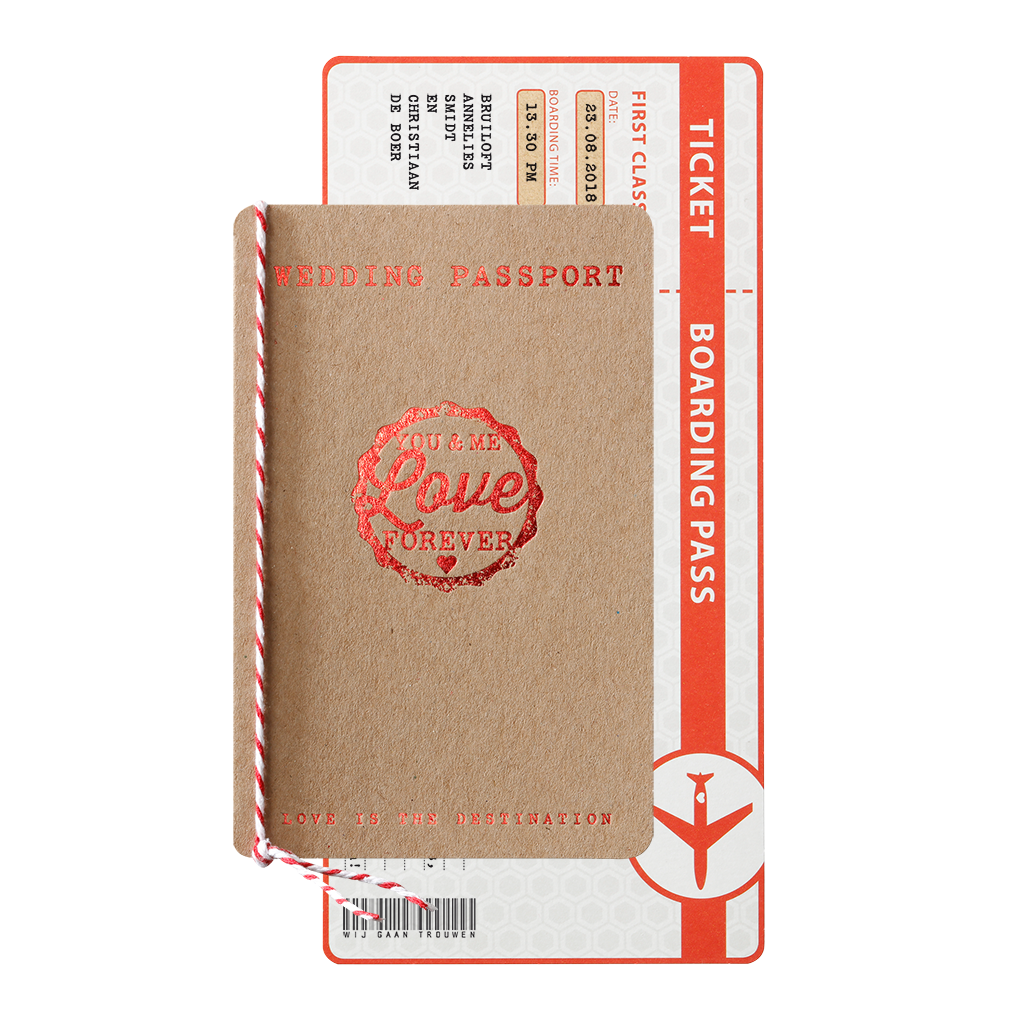 Originele trouwkaart paspoort en boarding pass I 726021