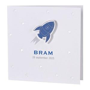 Zilverfolie geboortekaartje met racket en sterren I Buromac 589059