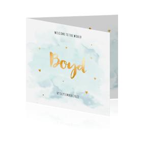 Goudfolie | Lief geboortekaartje voor jongen met watercolour