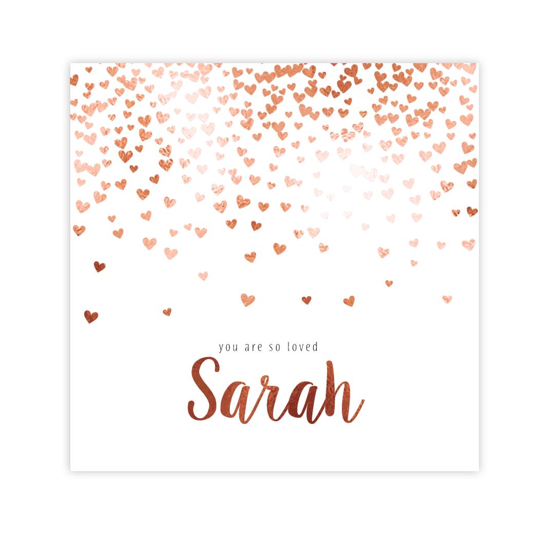 Romantisch geboortekaartje voor meisje met hartjes regen in koperfolie