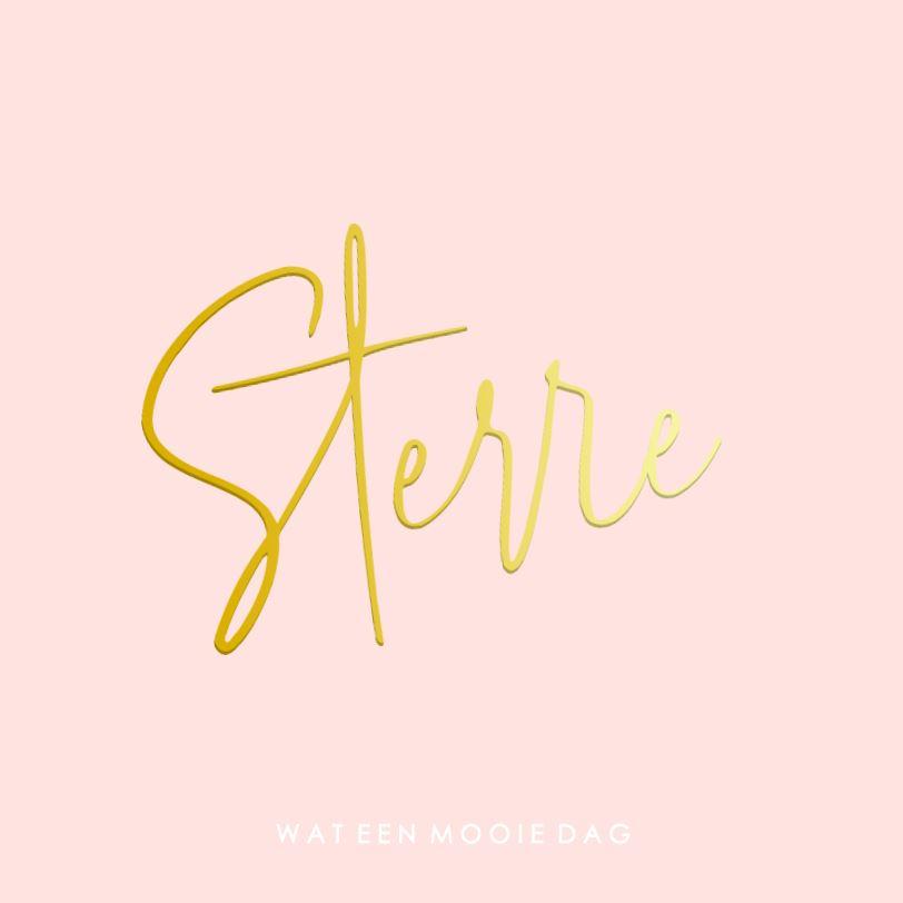 Geboortekaartje meisje goudfolie roze met groot naam