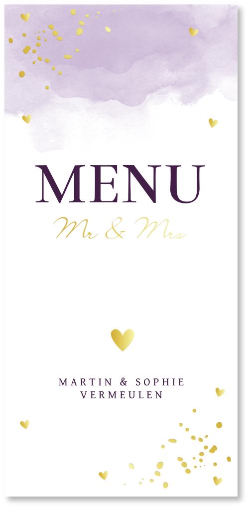 GOUDFOLIE menukaart bruiloft lila waterverf