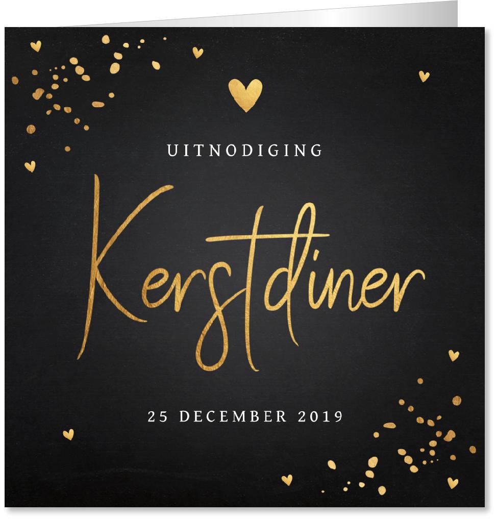 Kerstdiner uitnodiging confetti