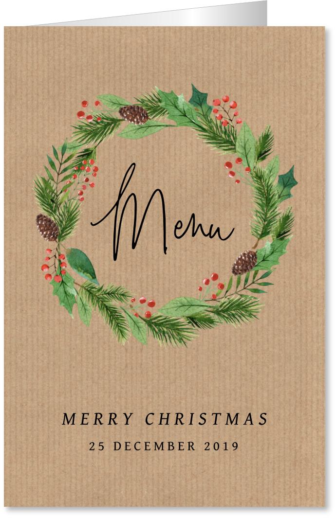 Kerstmenukaart kerstkrans kraft
