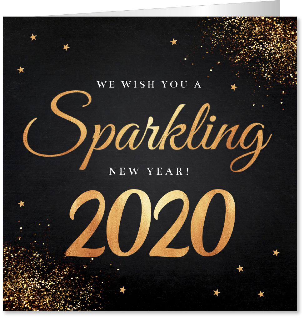 Nieuwjaarskaart zwart goudlook
