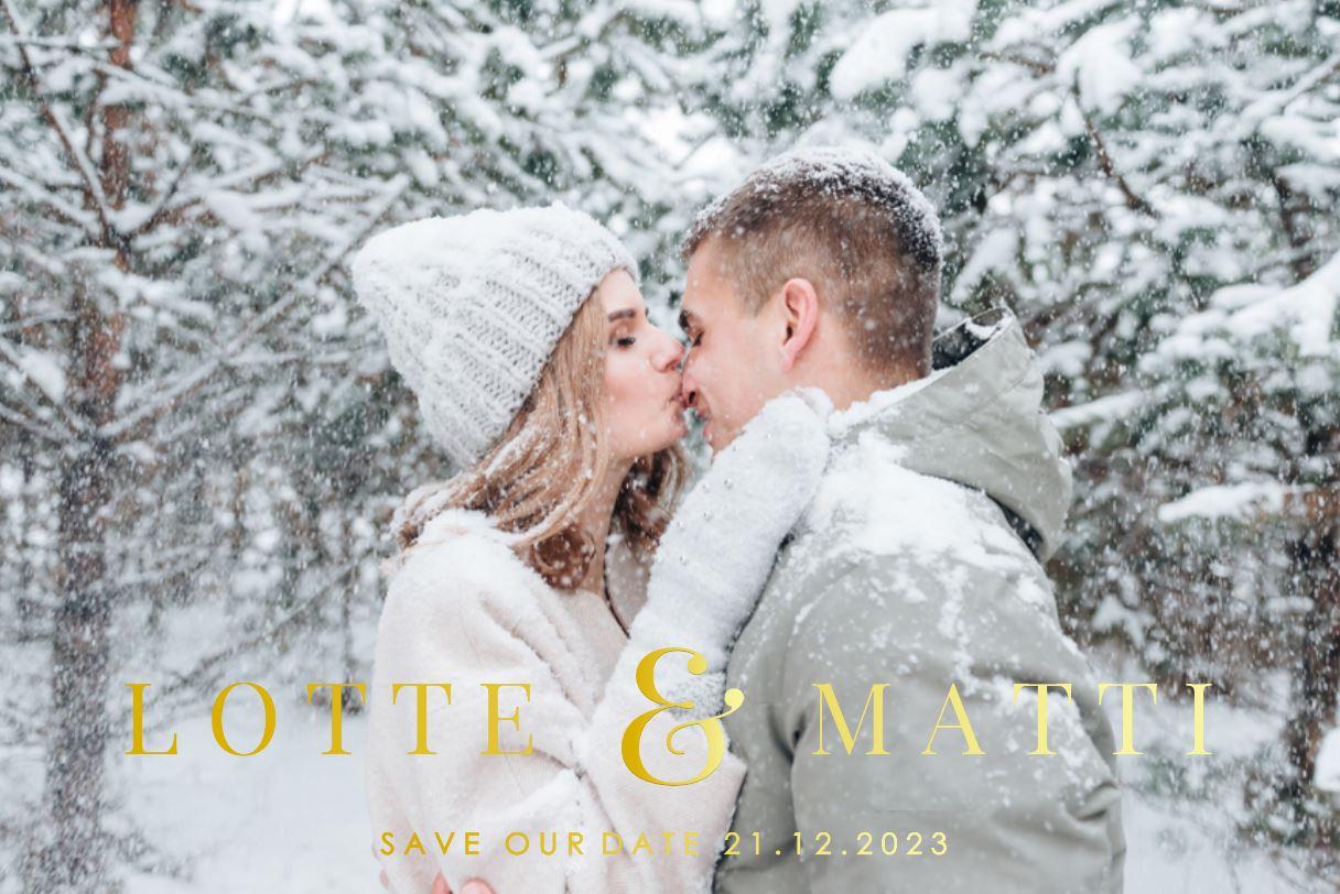Winterse trouwkaart met foto en goudfolie