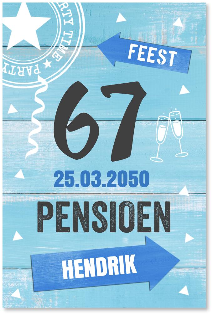 Pensioen uitnodiging blauw