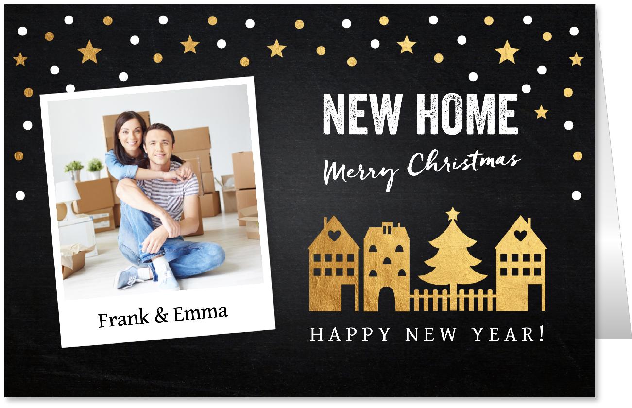 Kerstverhuiskaart foto huisjes goud