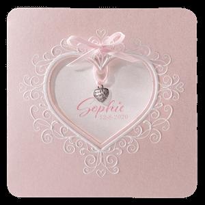 Romantisch geboortekaartje Belarto met uitgesneden hart