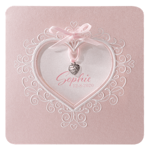Klassiek geboortekaartje met hart en strikje I 715044