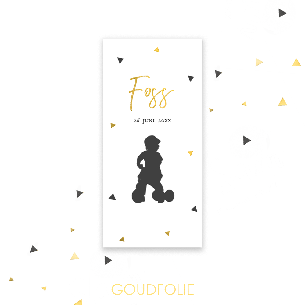 Goudfolie geboortekaartje met silhouet
