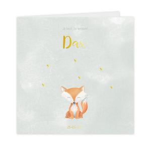 Trendy goudfolie geboortekaartje jongen met lief vosje en hartje