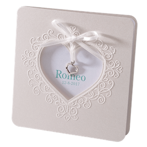 Klassiek geboortekaartje met hart en strikje I 715065