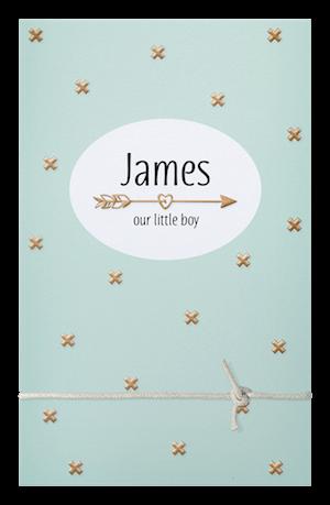 Hip babykaartje met goudkleurige kruisjes
