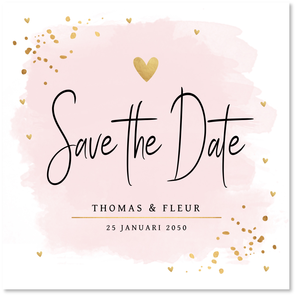 Save the Date kaart waterverf confetti