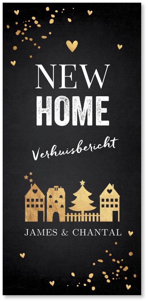 Kerstverhuiskaart huisje goudlook