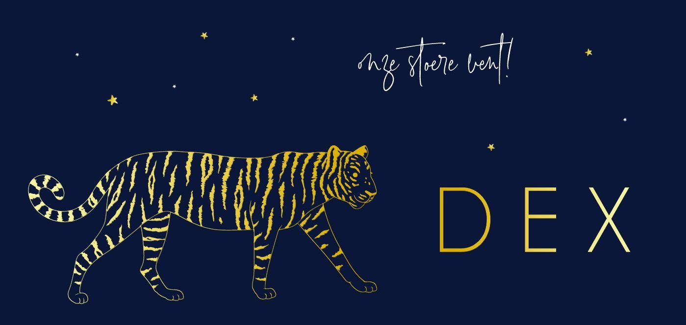 Goudfolie geboortekaartje jongen met tijger