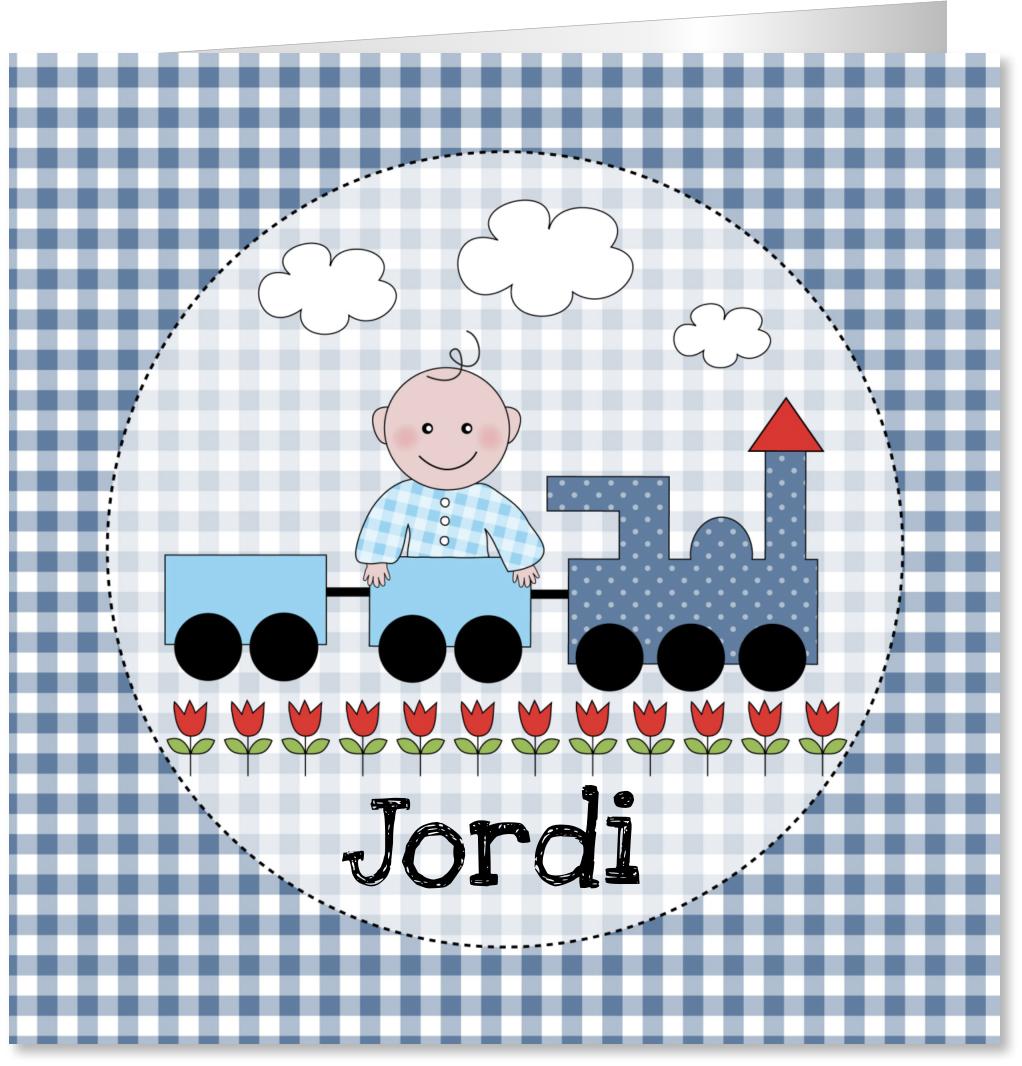 Geboortekaartje treintje jongen