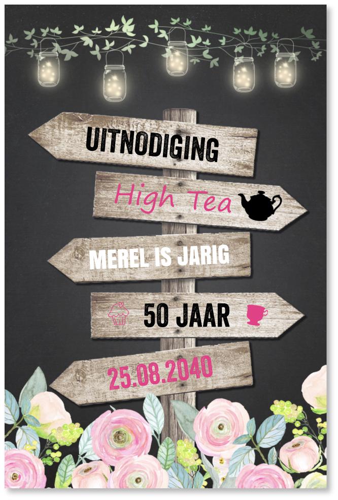 High Tea uitnodiging wegwijzers